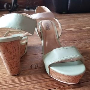 Charlotte russe teal and white wedge heels